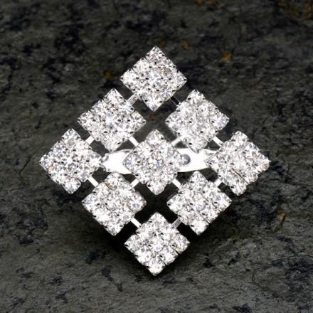 Diamante Squares Brooch