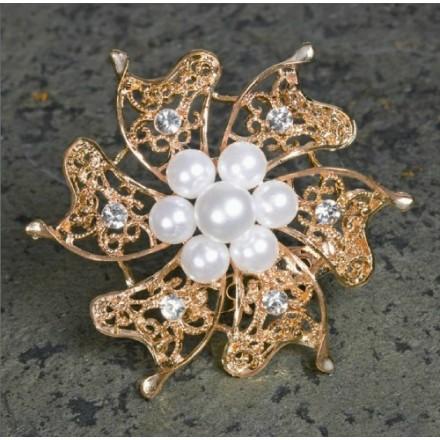 Rose Quartz brooch with Pearls