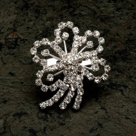 Diamante Flower Brooch