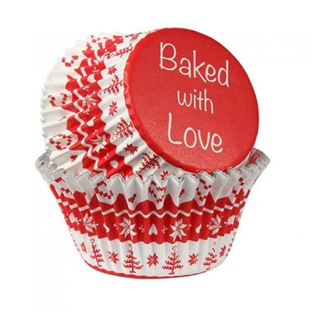 Red Nordic Baking Cases Foil Lined - Pack of 25