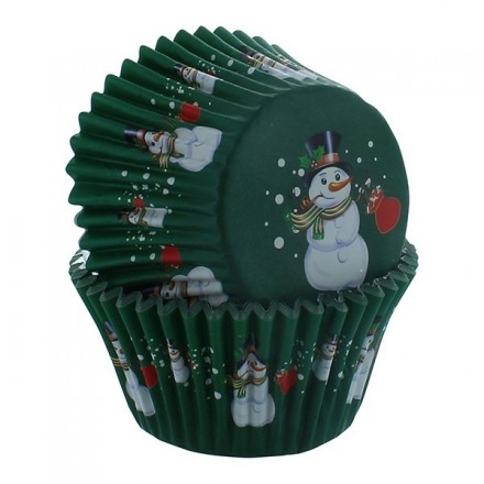 Snowman Foil lined Cupcake Cases pack of 30