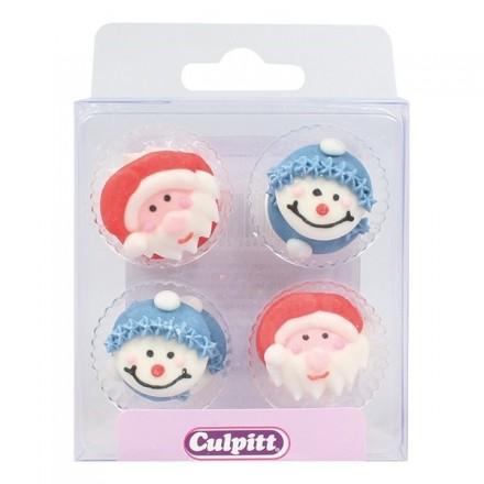 Santa And Snowman Sugar Pipings - Box of 12