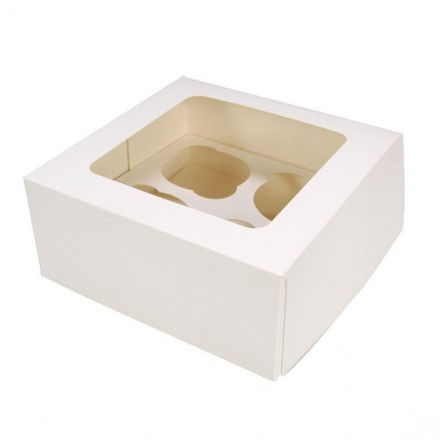 4 CUPCAKE WINDOW BOX - WHITE