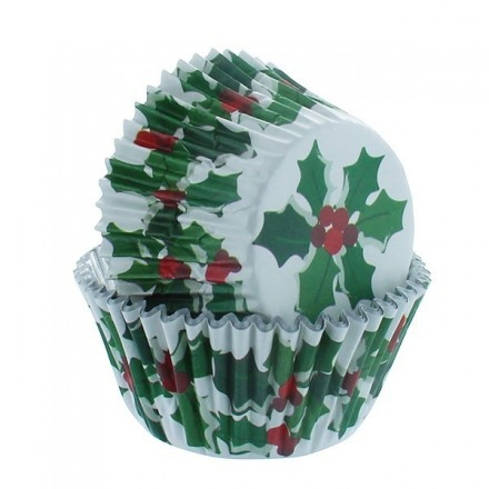 Holly Cupcake Cases Foil Lined x 25