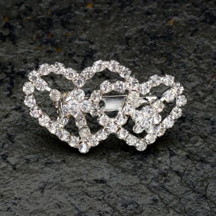 DNR Diamante Double Heart Brooch