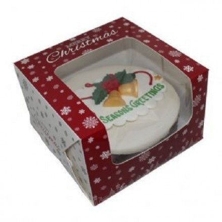 "10"" RED CHRISTMAS BOX 10X10X5"