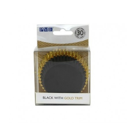 Black with Gold Trim Cupcake Cases (pack of 30)