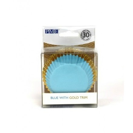 Blue with Gold Trim Cupcake Cases (pack of 30)