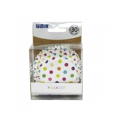 Multicolour Polka Dot Cupcake Cases (pack of 30)