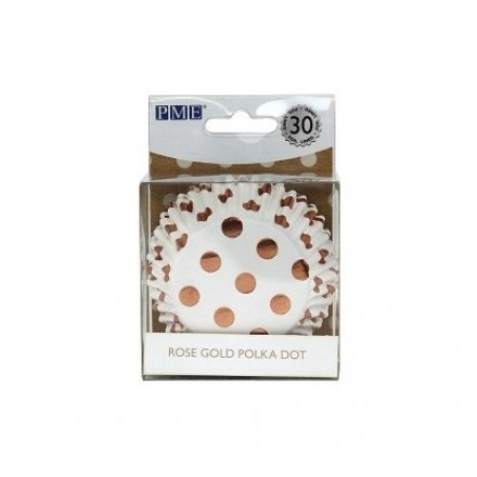 Rose Gold Polka Dot Cupcake Cases (pack of 30)
