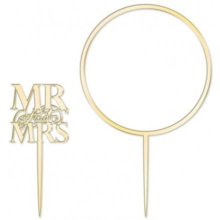 Gold Acrylic Mr & Mrs Topper w/ Hoop