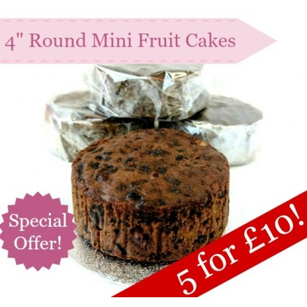 SPECIAL! Box of 5 Mini Fruit Cakes, 4 inch Round x 1.5 inch Deep