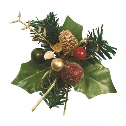 Holly and Bauble Christmas Spray
