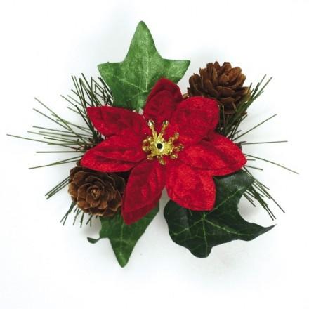Poinsettia and Ivy Christmas Spray