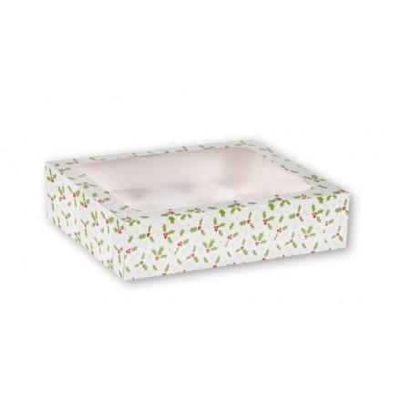 12 Hole Holly Cupcake Box