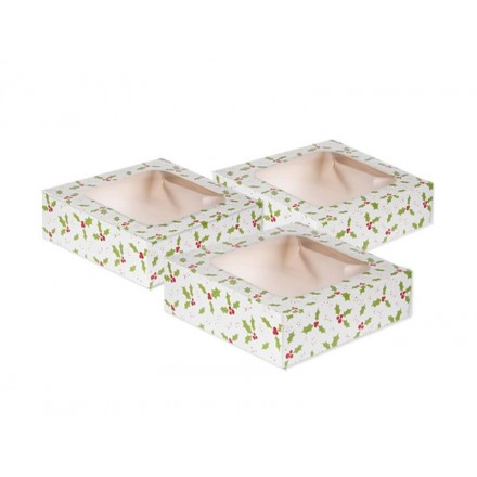 Set of 3 Holly Treat Boxes