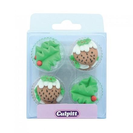 Holly and Christmas Pudding Pipings - Box of 12