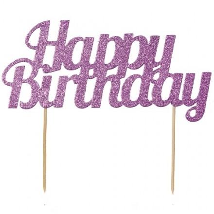 Pink Glitter Happy Birthday