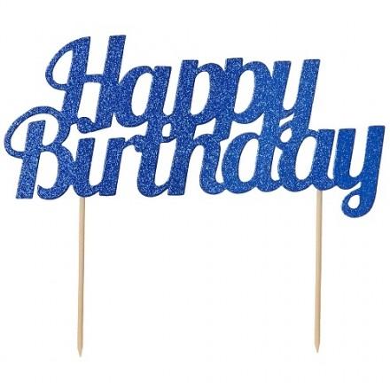 Blue Glitter Happy Birthday