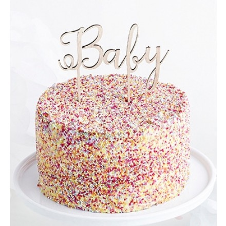 'Baby' Wooden Cake Topper