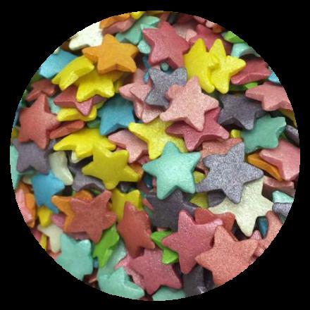 Large Rainbow Glimmer Star Sprinkles 100g