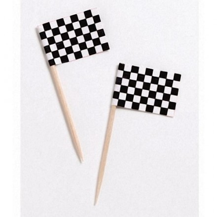 Black and White Chequered Flag Pick