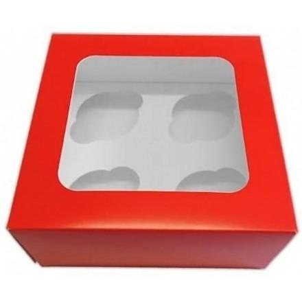 4 Hole Cupcake Box - Red