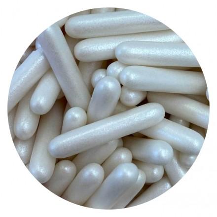 Pearlescent White Rod Sprinkles 100g