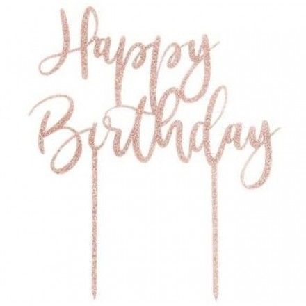 Small Rose Gold Glitter Happy Birthday