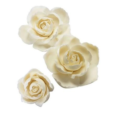Ruffled Edge Roses Set of 3