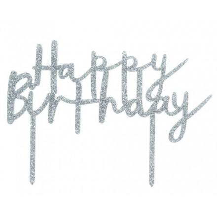 Silver Glitter Happy Birthday