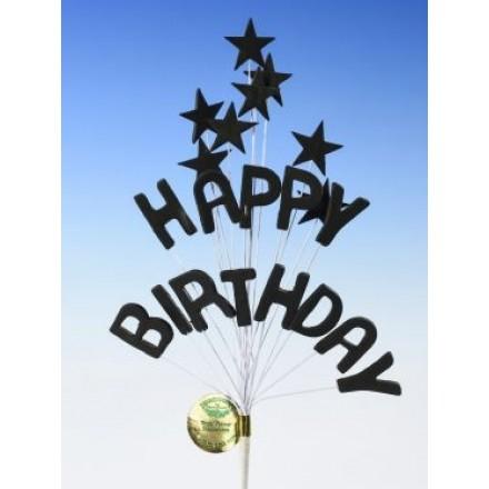 Happy Birthday Star Spray Topper Black