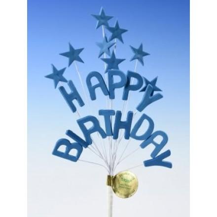 Happy Birthday Star Spray Topper Royal Blue