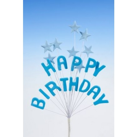 Happy Birthday Star Spray Topper Blue