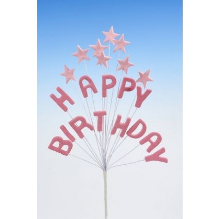 Happy Birthday Star Spray Topper Pink