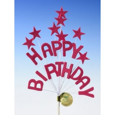 Happy Birthday Star Spray Topper Cerise