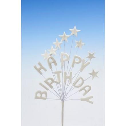 Happy Birthday Star Spray Topper White