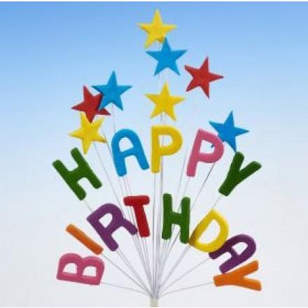 Happy Birthday Star Spray Topper Multi-Coloured