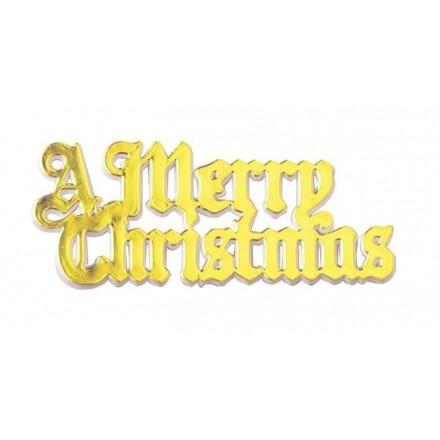 Merry Christmas Motto Gold - Set of 5