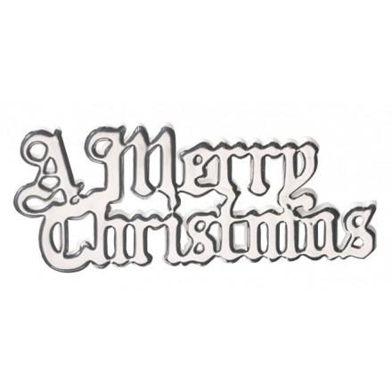 Merry Christmas Motto Silver - Set of 5