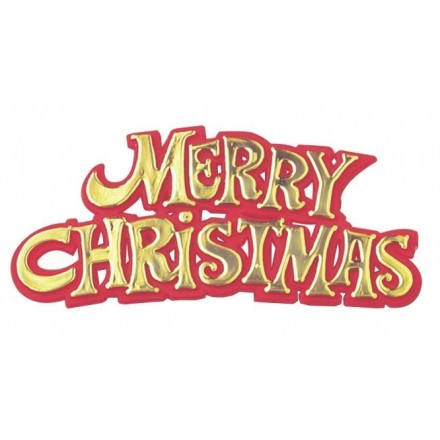 Merry Christmas Motto Gold and Red - Set of 5