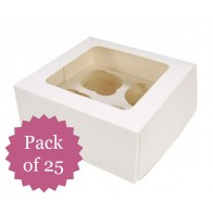 *PACK OF 25* 4 Hole Cupcake Boxes