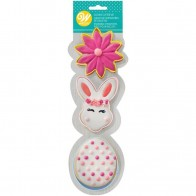 FLOWER-BUNNY-EGG  Cookie Cutter 3 PCSet